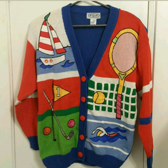 NWT Vintage preppy 80s 90s cardigan sweater large NWT
